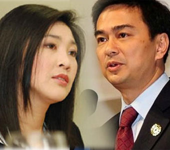 Thaksin's sister Yingluck to face off with Abhisit Vejjajiva for the Thai premiership (credits: http://en.isnhotnews.com/?p=10807)