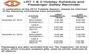 lrt schedule christmas 2012