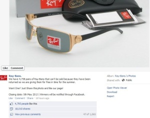 Ray ban giveaway Facebook hoax