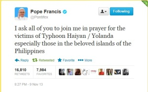 Pope Francis to Filipinos - Typhoon Yolanda