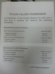 LRT schedule christmas 2013
